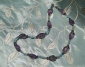 Dazzling Amethyst Nuggets with Mint Chalcedony and Agate Necklace Sparkling with Crystals