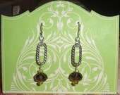 Smoky Quartz Pendant Earrings with Pewter Rope Twists and Crystals