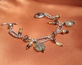 Green Prehnite Charm Bracelet with Pearls and Crystals in Sterling Silver and Pewter