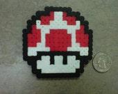 Super Mario Bros 3 Red Power Up Mushroom Fridge Magnet Nintendo NES 8-Bit Art