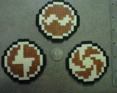 All Three Medallions from Zelda: A Link to the Past Magnet SNES pixelated item Bombos Ether and Quake Medallions