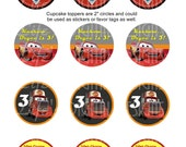 "Cars Cupcake Toppers 2"" Lightning McQueen Mater Birthday Favor Tags Stickers Printable Customizable"
