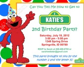 Elmo Birthday Invitation Red Green Yellow Blue Dots Photo Option Customizable Printable