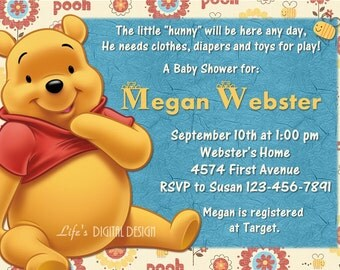 Winnie the Pooh Baby Shower Invitation Customizable Printable