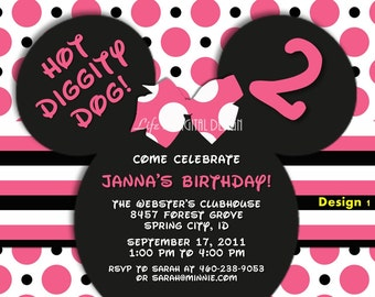 Minnie Mouse Invitations, Minnie Mouse Ears Invitation, Minnie Birthday Invite, Pink Black Polka Dot and Stripe Customizable Printable