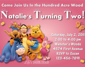 Winnie the Pooh Invitation Birthday Pink Customizable Printable