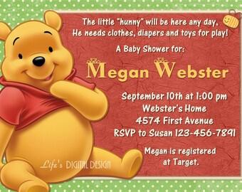 Winnie the Pooh Baby Shower Invitation Green Polka Dot Background Customizable Printable