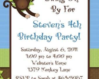 Monkey Birthday Invitation Blue Swinging Monkey Photo Options Customizable Printable