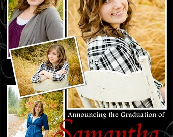 Graduation Announcement Multiple Photo and Background Options Customizable Printable 5x7 or 4x6
