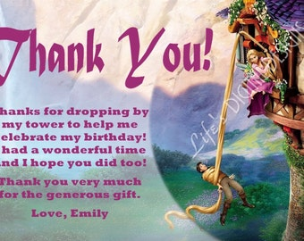 Tangled Rapunzel Thank You Card with Photo Option Customizable Printable