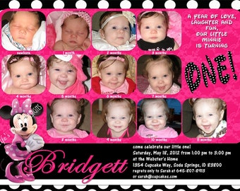 Minnie Mouse First Birthday Invitations 12 Photos Hot Pink Polka Dots Customizable Printable 5x7 or 4x6