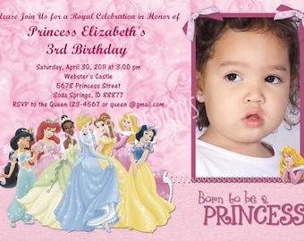 Disney Princess Birthday Invitation Photo Option Customizable Printable Pink