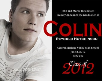 Graduation Announcement Single Photo and Background Options Customizable Printable 5x7 or 4x6