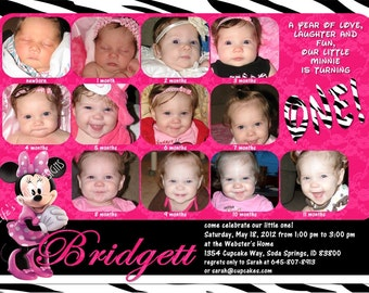 Minnie Mouse First Birthday Invitations 12 Photos Hot Pink Zebra Customizable Printable 5x7 or 4x6
