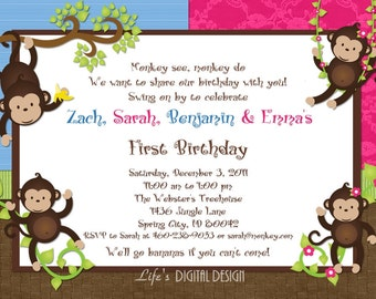 Monkey Birthday Invitations for Quadruplets in Pink and Blue Customizable Printable