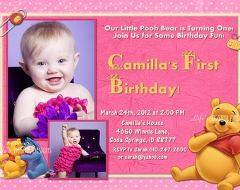Winnie the Pooh First Birthday Invitation Pink 1 or 2 Photo Options Customizable Printable