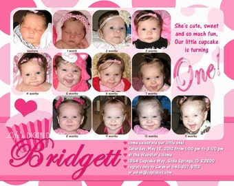 "Cupcake First Birthday Invitations 12 Photos Pink White Polka Dot Customizable Printable 6x7.5"" Costco Size"