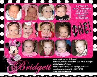 """Minnie Mouse First Birthday Invitations 12 Photos Hot Pink Polka Dot Customizable Printable 6x7.5"""" Costco Size"""