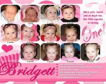 Cupcake First Birthday Invitations 12 Photos Pink White Polka Dot Customizable Printable 5x7 or 4x6