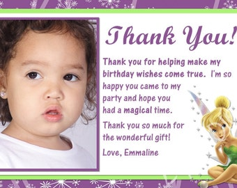 Tinkerbell Thank You Card with Photo Option Customizable Printable