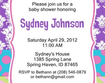 Baby Shower Invitation Fun & Funky Customizable Printable