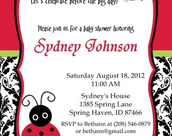 Lady Bug Baby Shower Invitations Damask or Solid Background Options Customizable Printable