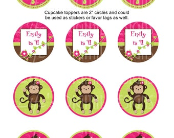 "Monkey Cupcake Toppers 2"" Birthday Favor Tags Stickers Pink Green Printable Customizable"