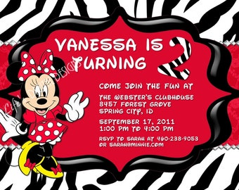 Minnie Mouse Zebra Invitations with Photo Option Red Customizable Printable