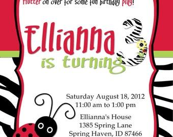 Lady Bug Birthday Invitations Zebra Stripe Customizable Printable