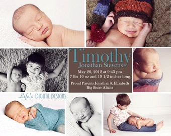 """Baby Announcement Photo Collage Customizable Printable 6x7.5"""" Costco Size"""