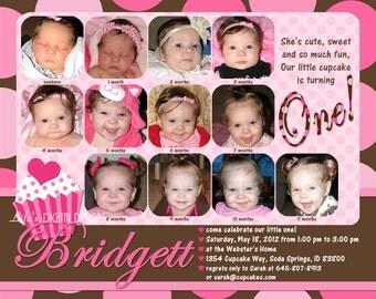 "Cupcake First Birthday Invitations 12 Photos Pink Brown Polka Dot Customizable Printable 6x7.5"" Costco Size"