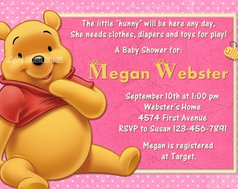 Winnie the Pooh Baby Shower Invitation Pink Customizable Printable