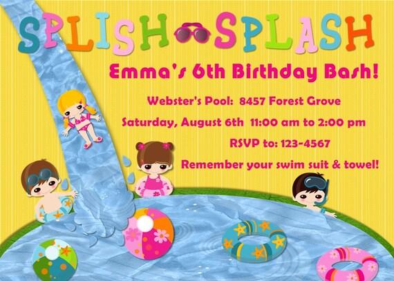 Pool Party Birthday Invitation Splish Splash Customizable Printable