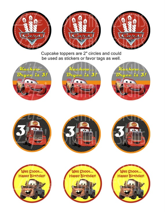 Cars Cupcake Toppers 2 Lightning McQueen Mater Birthday Favor Tags