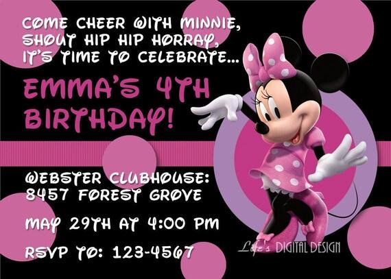 Minnie Mouse Invitations Black Pink Dots Photo Option Customizable Printable