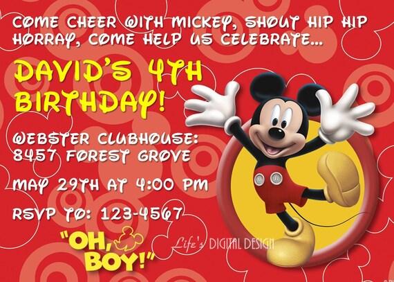 Mickey Mouse Birthday Invitation with Photo Option Customizable Printable