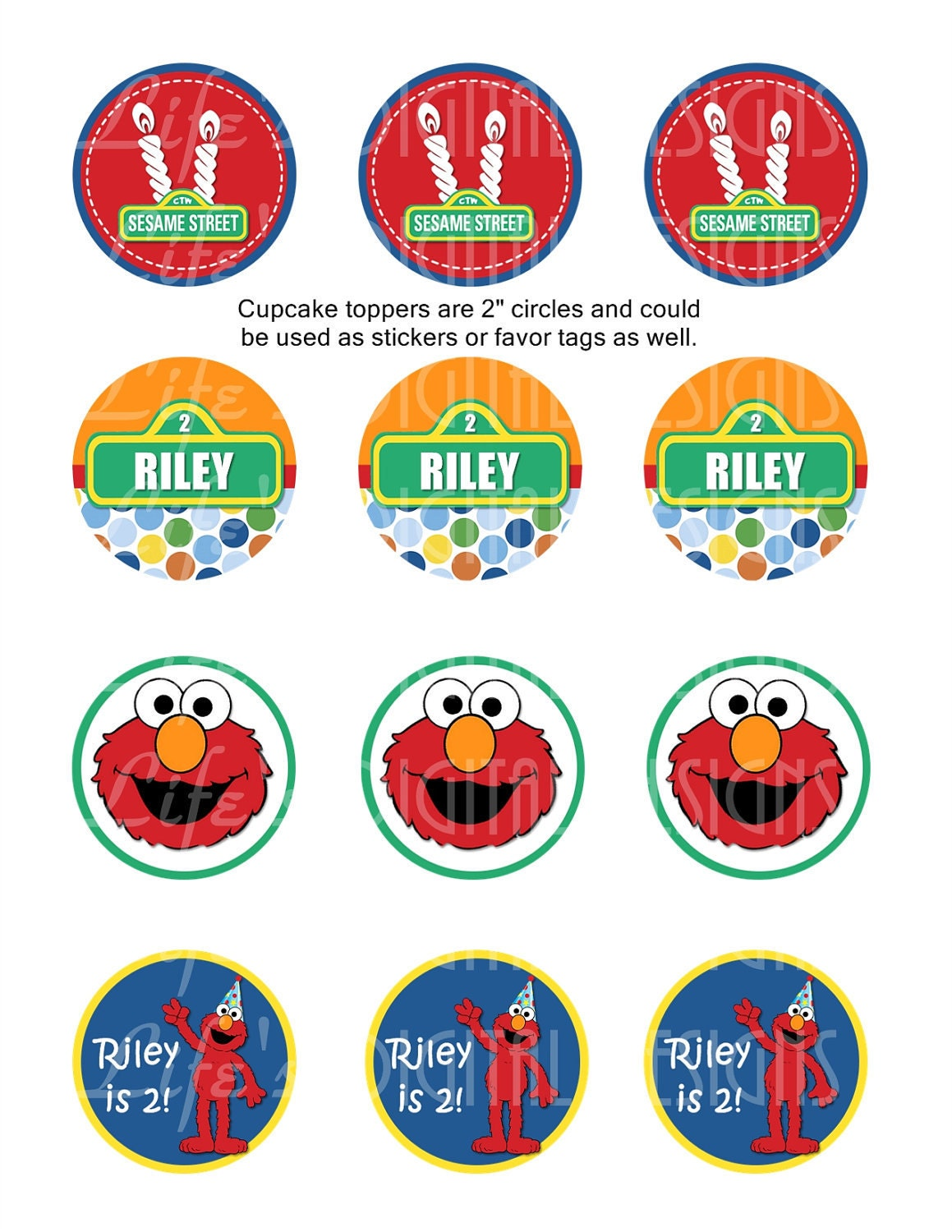 Elmo cupcake toppers 2 birthday favor tags stickers zoom pronofoot35fo Choice Image