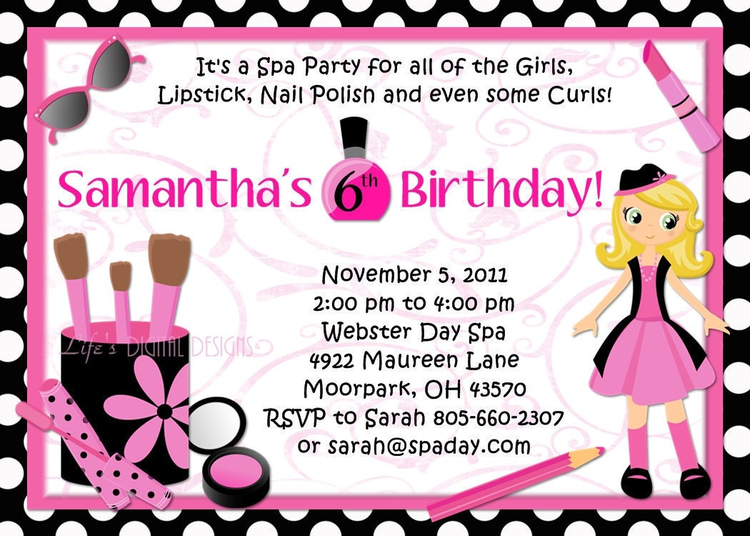 Spa Party Birthday Invitations Glamour Girl Beauty Day Polka – Glamorous Birthday Invitations
