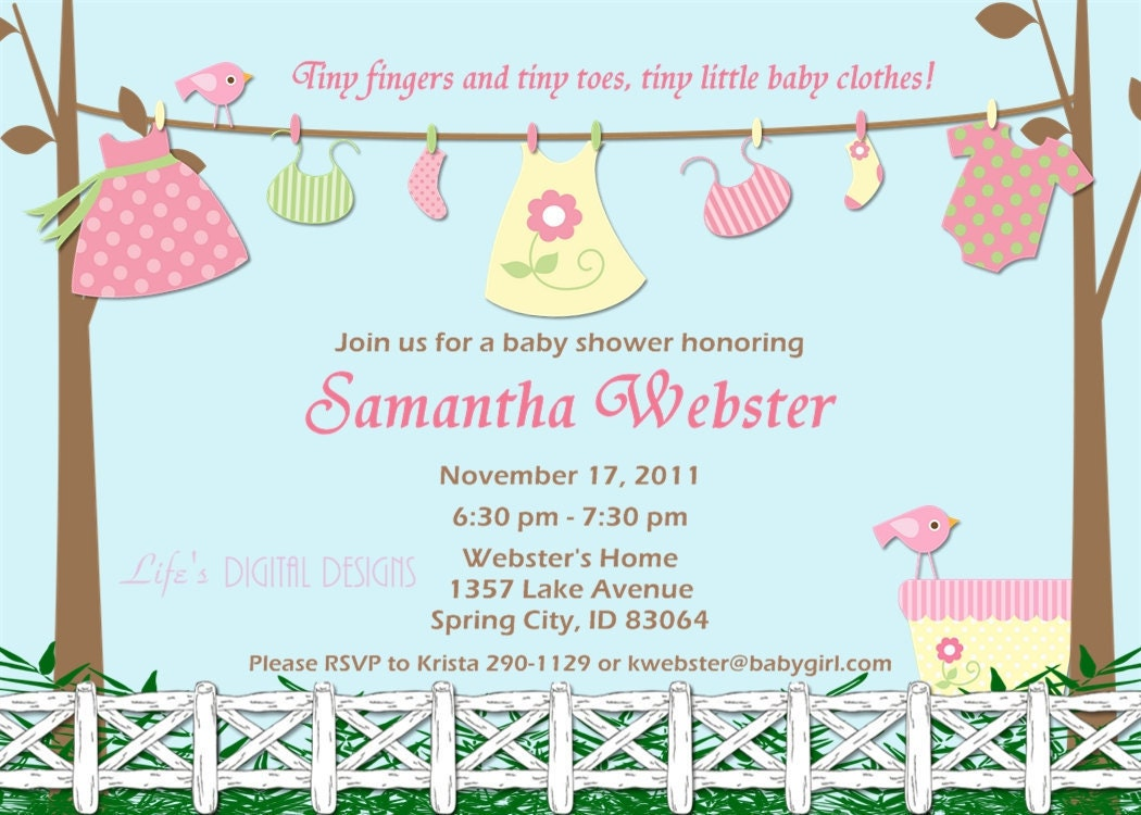 Baby shower invitations for girl baby clothes pink and yellow for Baby clothesline decoration baby shower