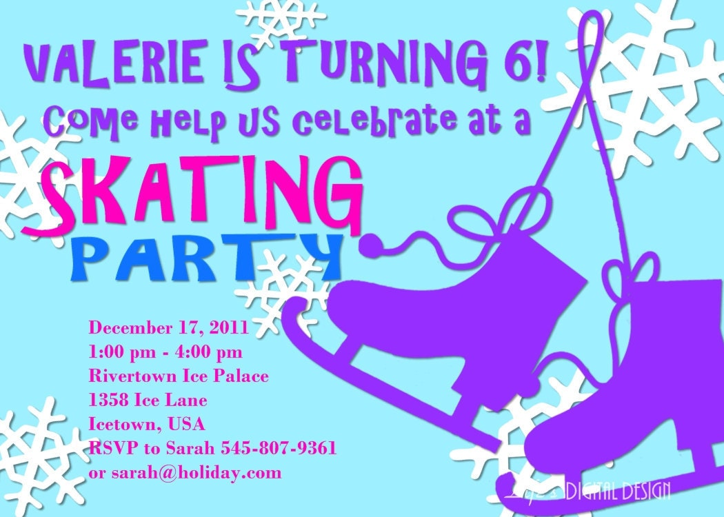 Ice Skating Party Invitation Birthday Customizable Printable