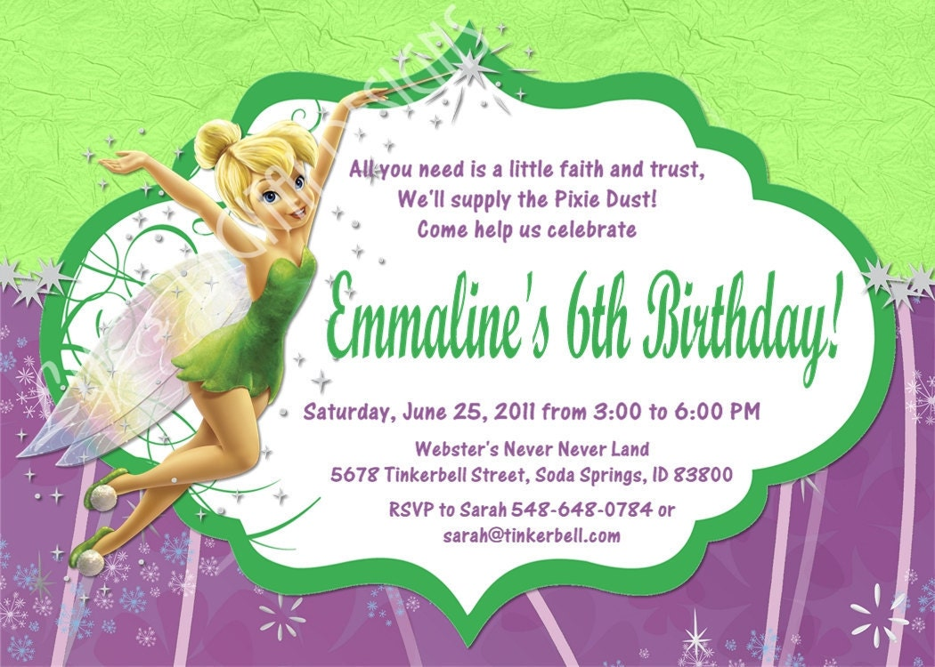 tinkerbell birthday invitation photo option customizable