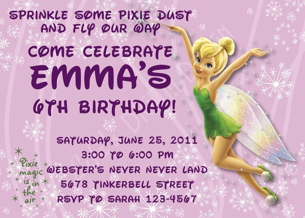 Free Printable Tinkerbell Birthday Party Invitations 18 Best