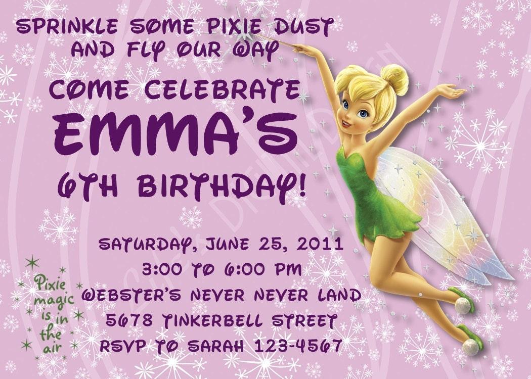 Tinkerbell Birthday Invitations Customizable Printable