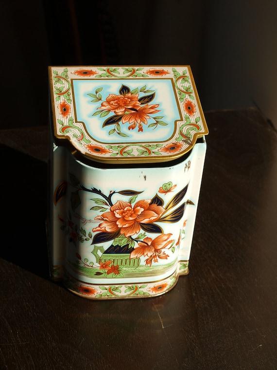 Vintage Daher Biscuit Tin with Orange Rose Floral Design and Tilted Hinged Lid