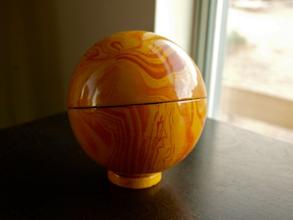 RESERVED for NICOLA - Vintage Orange Marbled Black Lacquer Sphere Trinket Box