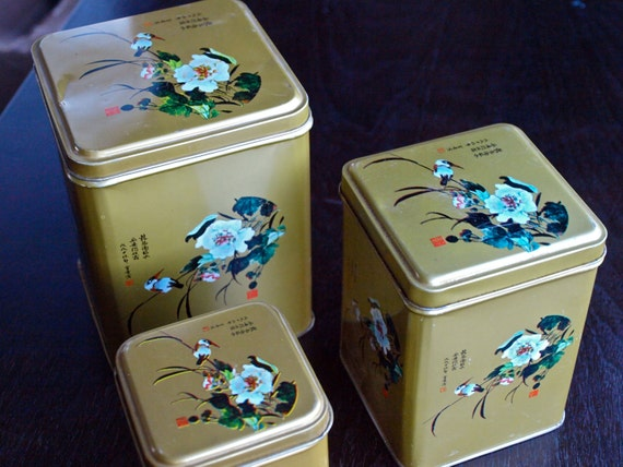 Three Vintage Asian Nesting Tins