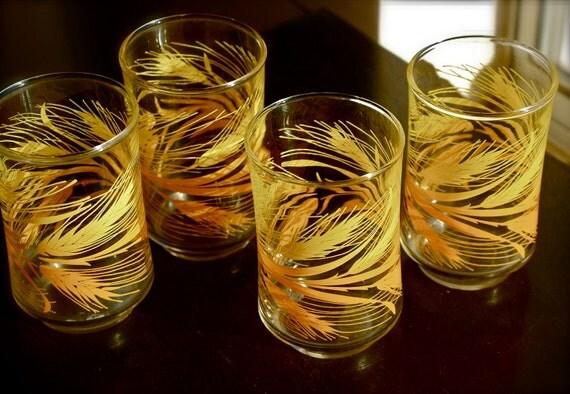 Set of Vintage Libbey Juice Glasses in 1960s Golden Wheat Pattern