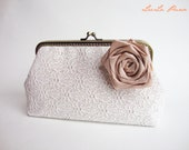 Vintage bridal Inspired clutch - White Lace Clutch with Detachable Silk Flower Brooch (Choose your color) / rustic shabby chic wedding