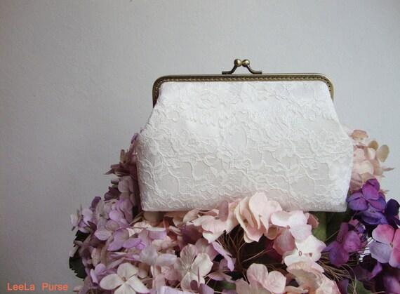 Bridal Clutch - Romance Lace Clutch and Detachable Chain Strap