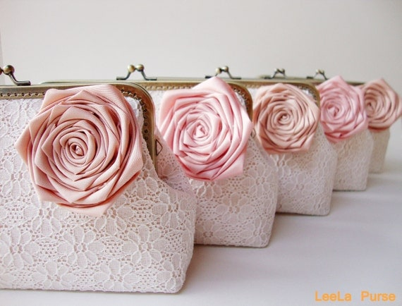 Bridesmaid gift idea - Set of six White Lace Clutch with Silk Rose Flowers --  or choose your own initial option - Spring rustic wedding
